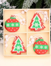 Fashion 12 Pieces In A Box Christmas Tree Contrast Color Wooden Pendant