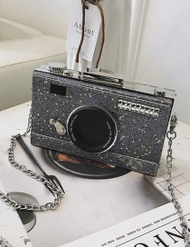 Fashion Silver Color Chain Camera Sequin One Shoulder Messenger Bag
