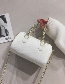 Fashion Matte White Chain Diamond Shoulder Messenger Bag