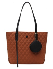 Fashion Brown Embroidered Rhombus Large Capacity Shoulder Bag