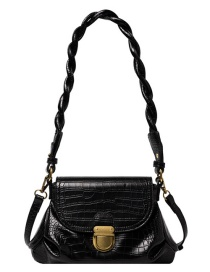 Fashion Black Crocodile Pattern Single Shoulder Messenger Bag