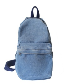 Fashion Light Blue Denim Stitching Large Capacity Crossbody Bag