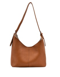 Fashion Brown Solid Color Soft Leather Stitching One-shoulder Mother And Daughter Bag