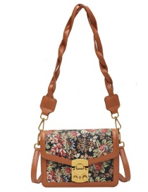 Fashion Light Brown Pu Leather Flower Lock Shoulder Messenger Bag