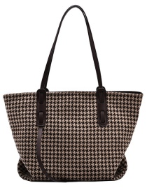 Fashion Brown Large-capacity Contrast Houndstooth Single Shoulder Messenger Bag