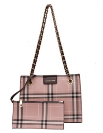 Fashion Brown Chain Check One Shoulder Messenger Bag