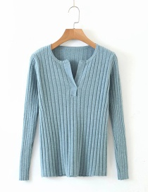 Fashion Blue Modal Yarn V-neck Knitted Bottoming Shirt