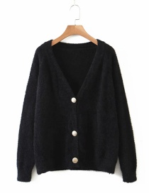 Fashion Black One-breasted Mink Knit Cardigan