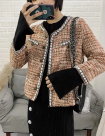 Fashion Color Contrasting Single-breasted Jacket With Trim