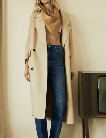 Fashion Apricot Double-breasted Silhouette Solid Color Woolen Coat