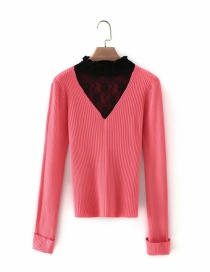 Fashion Pink Lace Collar Stitching Rolled Sleeve Sweater