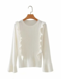 Fashion White Round Neck Sweater With Flared Sleeves