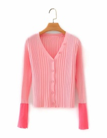 Fashion Pink V-neck Button Sleeve Spliced ??cardigan Sweater