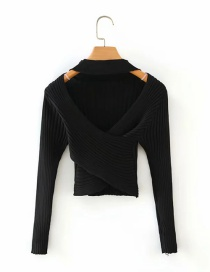 Fashion Black Halter Neck Cross Cutout V-neck Long Sleeve Top