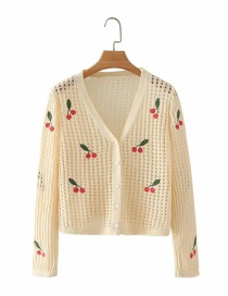 Fashion Apricot Cherry Embroidered Hollow Cardigan Sweater