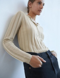 Fashion Apricot Ribbed Single-breasted Crew Neck Sweater