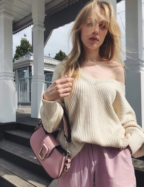 Fashion Creamy-white Front And Back V-neck Loose Sweater