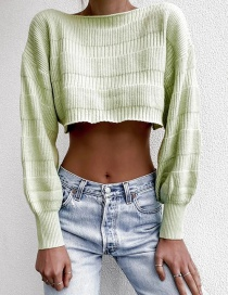 Fashion Green Short Shoulder Knit Top