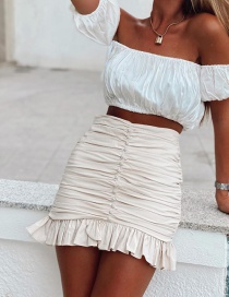 Fashion Beige Pleated Ruffled Solid Color Skirt