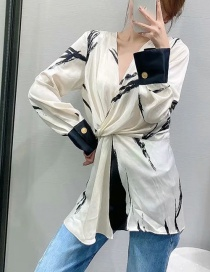 Fashion Color Cross V-neck Printed Loose Shirt