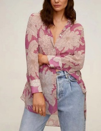 Fashion Pink Flower Print Loose Long Sleeve Shirt