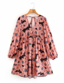 Fashion Color Printed V-neck Puff Sleeve Dress