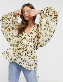 Fashion Leopard Fleck Print V-neck Loose Shirt