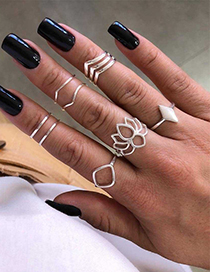 Fashion Silver Alloy Hollow Flower Ring Set