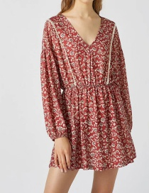 Fashion Red Long Sleeve Printed V-neck Dress