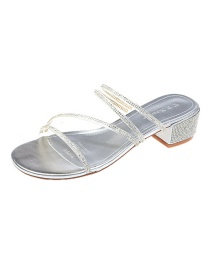 Fashion Silver Color Diamond-studded Wet Sandals And Slippers With Open Toe
