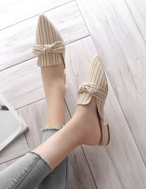 Fashion Creamy-white Striped Bow Pointed Thick Heel Sandals