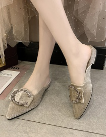 Fashion Gold Coloren Rhinestone Button Baotou Half Drag Low Heel Pointed Sandals And Slippers