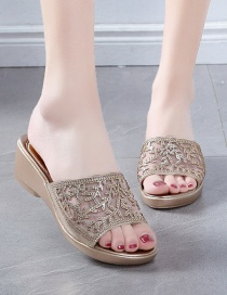 Fashion Gold Coloren Wedge Heel Platform Sandals And Slippers With Rhinestone Mesh
