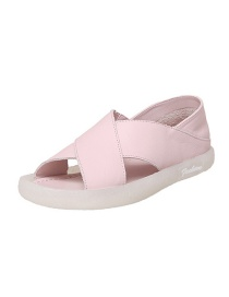Fashion Pink Round Toe Low Heel Open-toe Non-slip Slippers