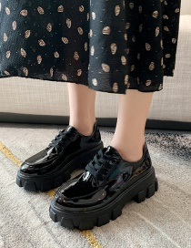 Fashion Black Platform Shoes With Bright Leather Straps