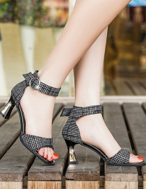 Fashion Black Houndstooth High Heel Square Toe Open Toe Sandals