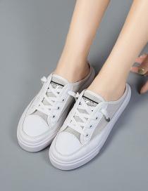 Fashion White Baotou Mesh Stitching Tether Half Slippers