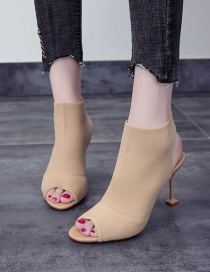 Fashion Apricot Fish Mouth Stiletto Heel Open Toe Knitted Elastic Stretch Sandals