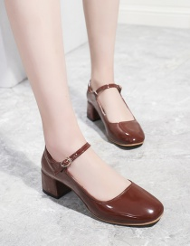 Fashion Red-brown Medium Chunky Heel Square Toe Patent Leather Shoes