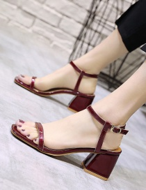 Fashion Red Wine Thick Mid-heel Buckle With Square Toe Open Toe Back Sandals