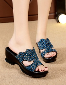 Fashion Blue Flat Rhinestone High Thick Heel Flat Large Size Sandals And Slippers