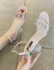 Fashion Creamy-white Transparent Crystal Word With Thick High Heel Sandals