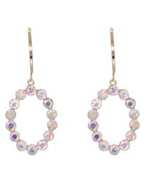 Fashion White Full Diamond Oval Geometric Alloy Earrings