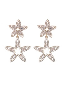 Fashion White Diamond Five-pointed Star Alloy Hollow Earrings