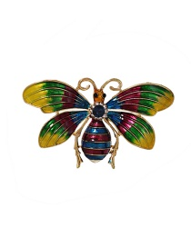 Fashion Color Mixing Alloy Greased Butterfly Brooch With Diamonds