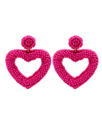 Fashion Rose Red Rice Beads Love Beaded Hollow Earrings