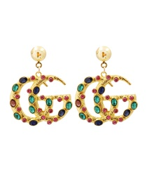 Fashion Pink Greenish Alloy Cutout Earrings With Diamond Letters