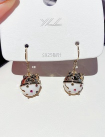 Fashion Real Gold Color Plated Lucky Cat Copper Inlaid Zircon Earrings