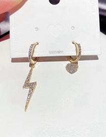 Fashion Real Gold Color Plated Asymmetric Micro Zircon Lightning Love Earrings