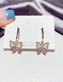 Fashion Real Gold Color Plated Butterfly Micro Zircon Earrings
